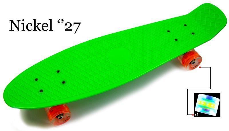 "Penny Board Nickel 27"".Green. Светящиеся колеса"