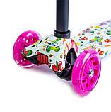 Детский самокат MAXI. Бабочки. Малиновые светящиеся колёса., фото 2