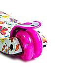 Детский самокат MAXI. Бабочки. Малиновые светящиеся колёса., фото 4