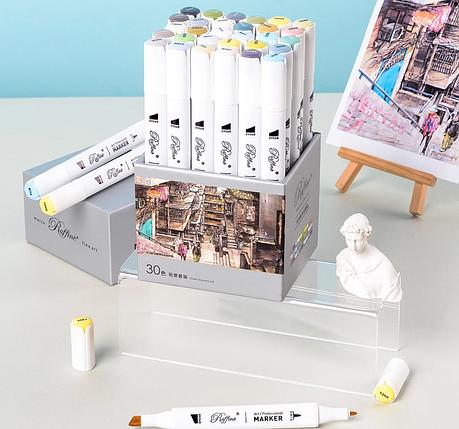 """Набор двухсторонних маркеров 30цветов для рисования 7801-30CB(YJ) """"Marco"""" пастельные+яркие оттенки (карт.блок), фото 2"""