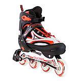Ролики с PU колесами раздвижные Scale Sports. Красные, размер 41-44, фото 2