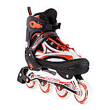 Ролики з PU колесами розсувні Scale Sports. Червоні, розмір 41-44, фото 2