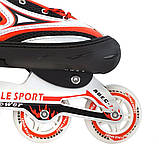 Ролики с PU колесами раздвижные Scale Sports. Красные, размер 41-44, фото 5