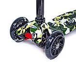 Детский самокат MAXI. Military. Чёрные светящиеся колёса., фото 3