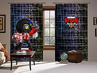 Шторы 3D Бравл старс Барли диско, комплект из 2-х штор Brawl Stars