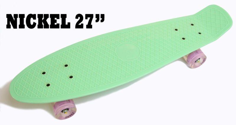 """Пенниборд Nickel 27"""". Мятный цвет. Светящиеся колеса"""