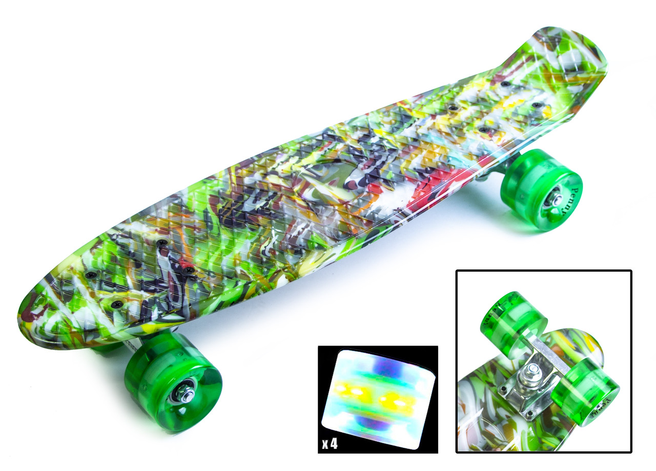 """Penny Board """"Green cane"""". Светящиеся колеса."""