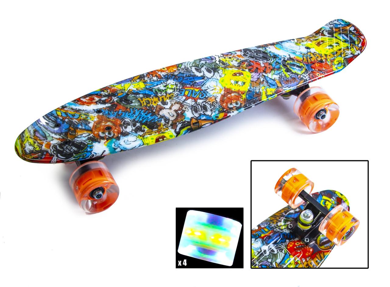 """Penny Board """"Graffiti"""" Sponge Bob. Светящиеся колеса."""