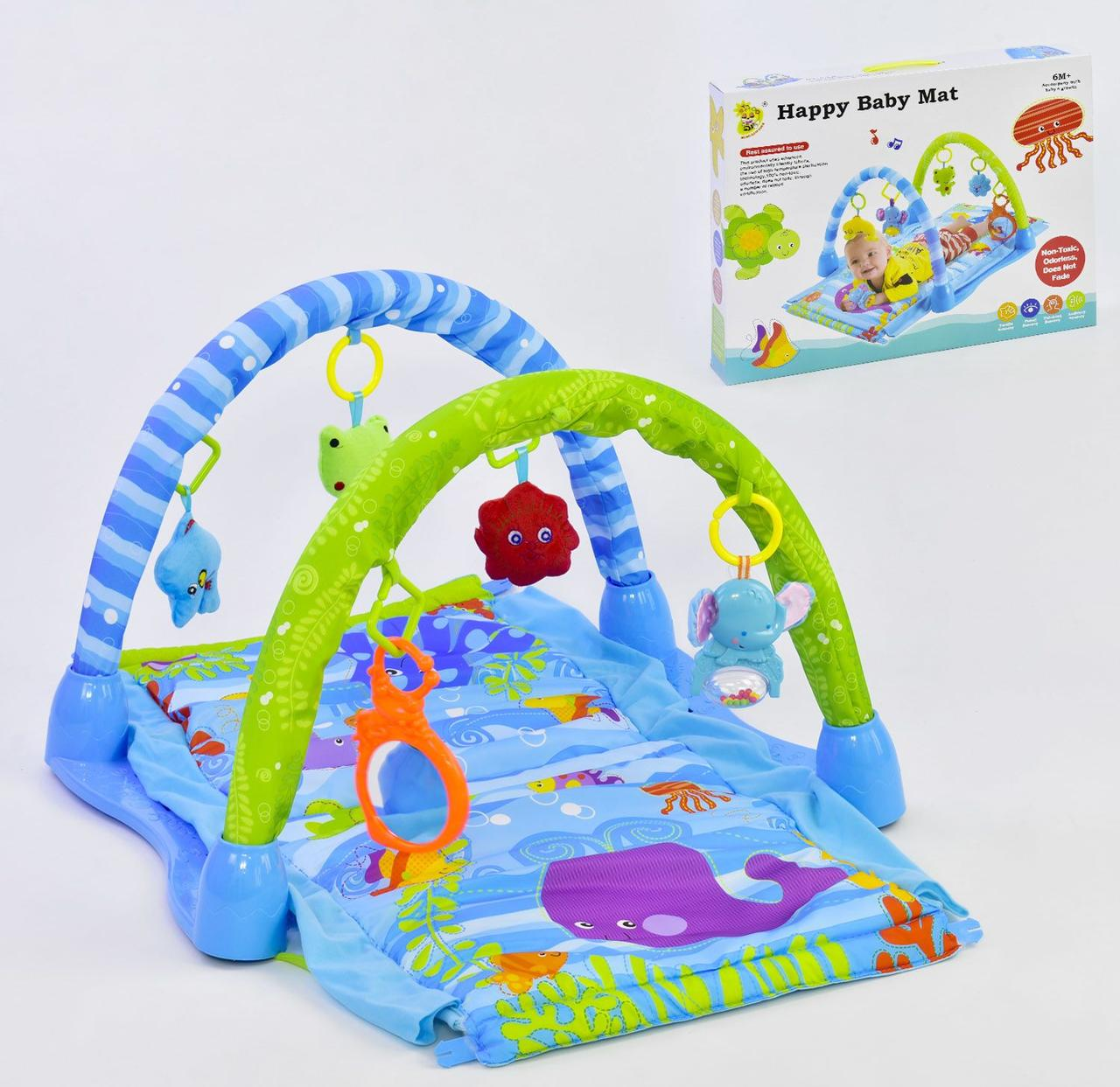 Коврик игровой с 3 мягкими подвесками, 1 музыкальной подвеской, Зеркалом для Малыша