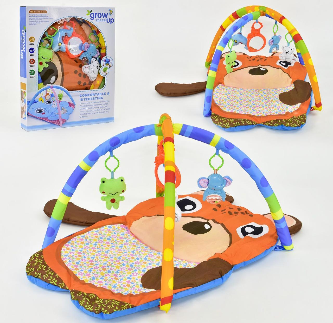 Коврик игровой в форме Медвежонка с подвесными игрушками светом и звуком