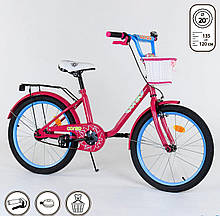 """Велосипед 20"""" дюймов 2-х колёсный 2010""""CORSO"""" ручной тормоз, звоночек, корзинка, подножка"""