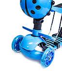 "Самокат Scooter ""Божа корівка"" 5 в 1. Блакитний, фото 3"