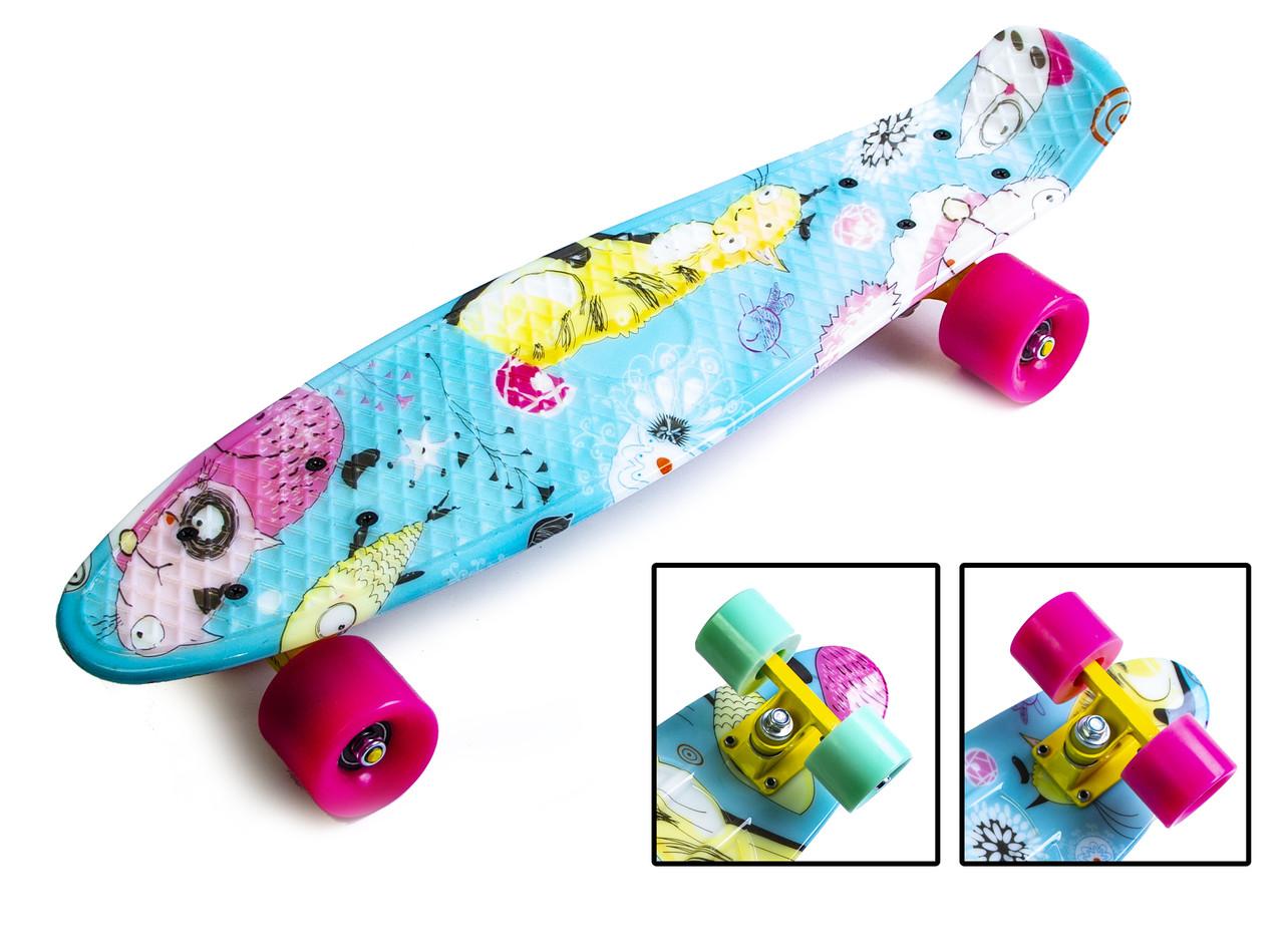 "Скейт Penny Board ""Котики"" с полиуретановыми колесами"