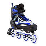 Ролики з PU колесами розсувні Scale Sports. Сині, розмір 41-44, фото 2