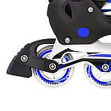 Ролики з PU колесами розсувні Scale Sports. Сині, розмір 41-44, фото 4