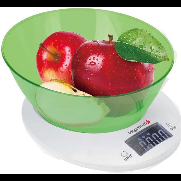 Весы кухонные электронные 5 кг (с чашей) ViLgrand VKS-533С_green