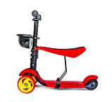Самокат-беговел Scooter Smart 3 в 1. Червоний. Світяться Колеса, фото 2