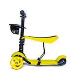 Самокат-беговел Scooter Smart 3 в 1. Желтый. Колеса светятся, фото 2