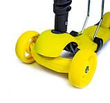 Самокат-беговел Scooter Smart 3 в 1. Желтый. Колеса светятся, фото 3