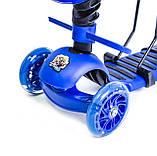 Самокат Scooter Пчелка 5 в 1. Синий. С музыкой и подсветкой, фото 2