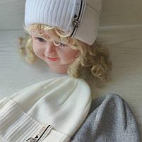 Шапочка для девочки с сердечком с заворотом Ambra Польская шапка  Размер 50-52 см Возраст 3-5 лет, фото 2