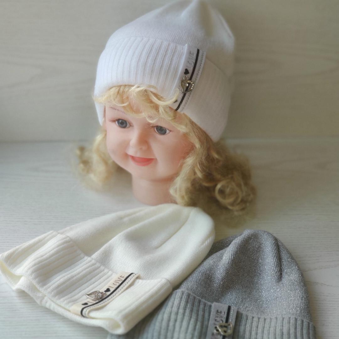 Шапочка для девочки с сердечком с заворотом Ambra Польская шапка  Размер 50-52 см Возраст 3-5 лет