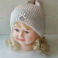 Демисезонная Шапка для девочки с заворотом Ambra Польская шапка Размер 52-54 см  Возраст 4-8 лет, фото 2