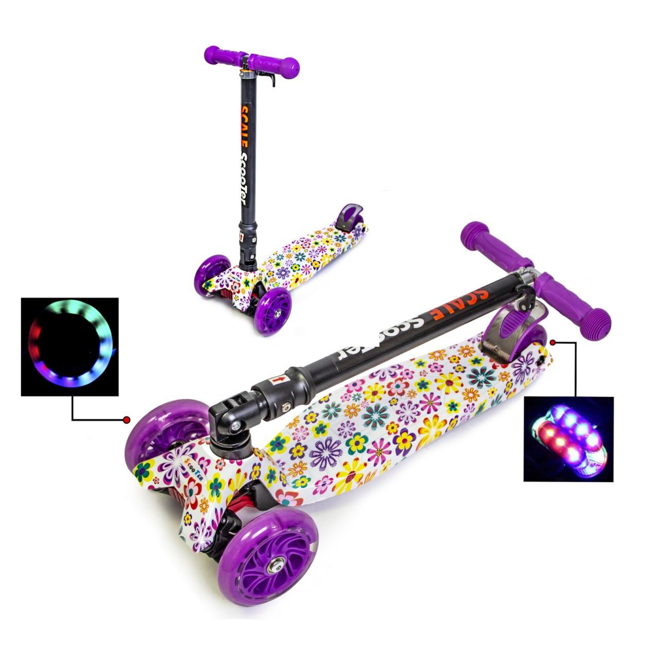 """Детский самокат MAXI с рисунком """"Фиолетовый Цветок"""". Складная ручка!"""