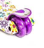 """Детский самокат MAXI с рисунком """"Фиолетовый Цветок"""". Складная ручка!, фото 4"""