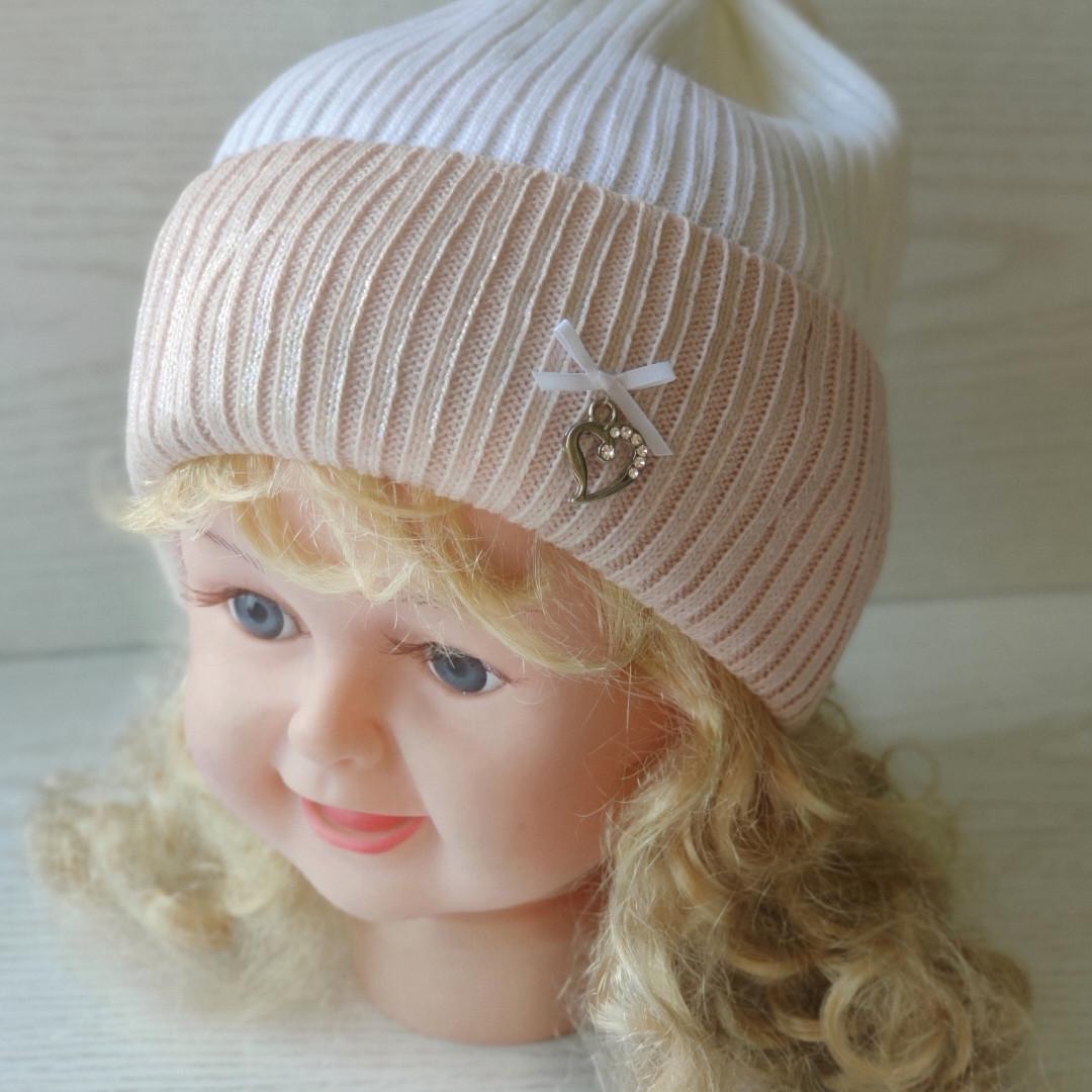 Демисезонная Шапка для девочки с заворотом Ambra Польская шапка Размер 52-54 см  Возраст 4-8 лет