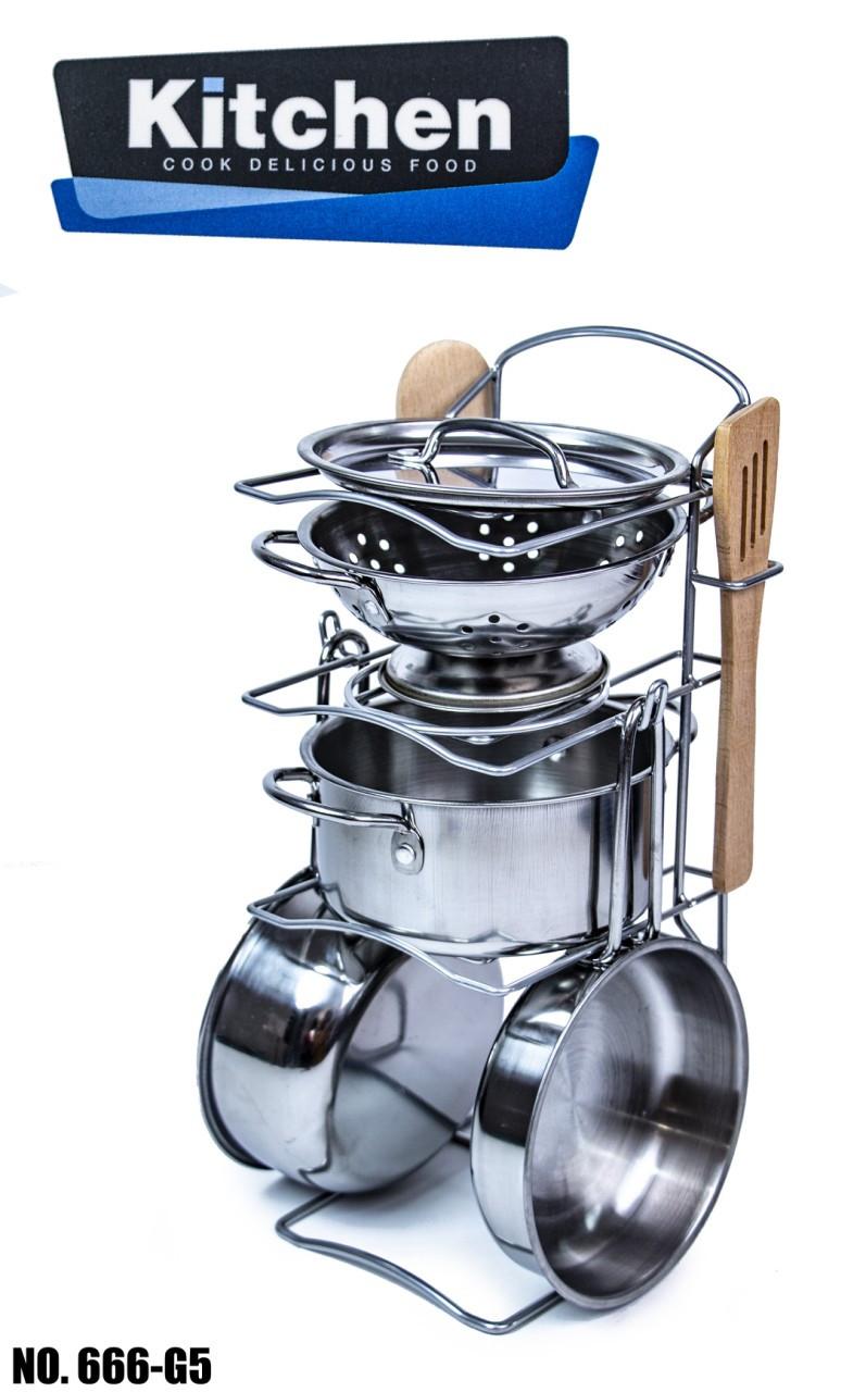 Набор игрушечной металлической посуды 666-G5 из нержавеющей стали