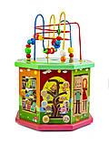 Дерев'яна розвиваюча іграшка-сортер 10 в 1, з лабіринтом пальчиковым, фото 2