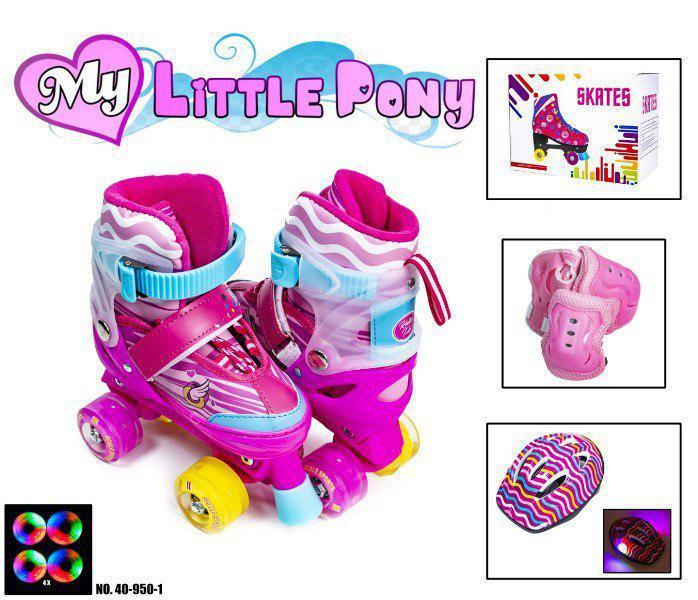 """Комплект (ролики-квады+защита+шлем с подсветкой) """"My little Pony"""""""