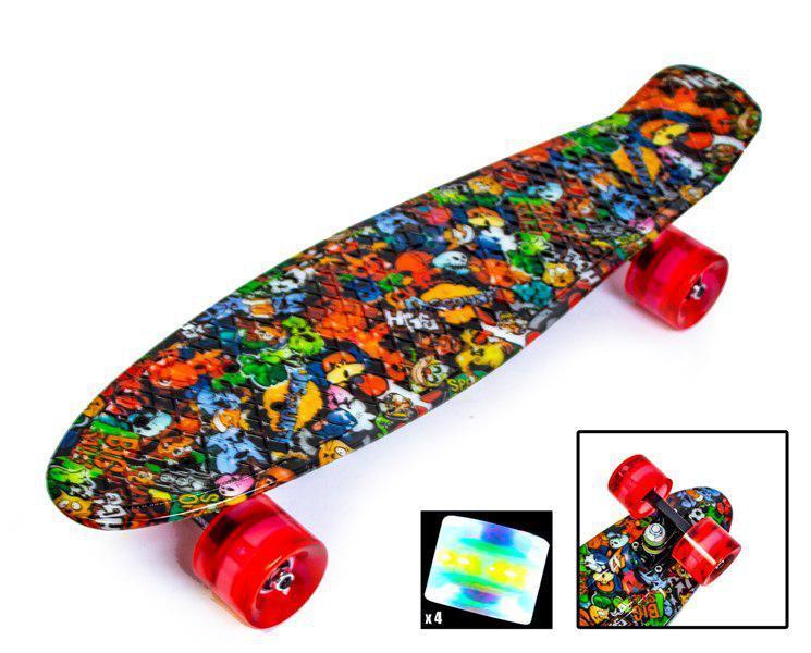 """Penny Board """"Монстрики-2"""" зі світними колесами"""