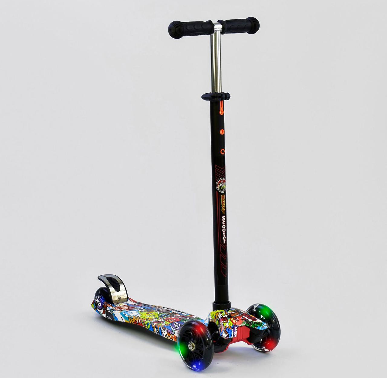 Детский самокат MAXI Best Scooter. Графити Спанч Боб . Светящиеся колеса!