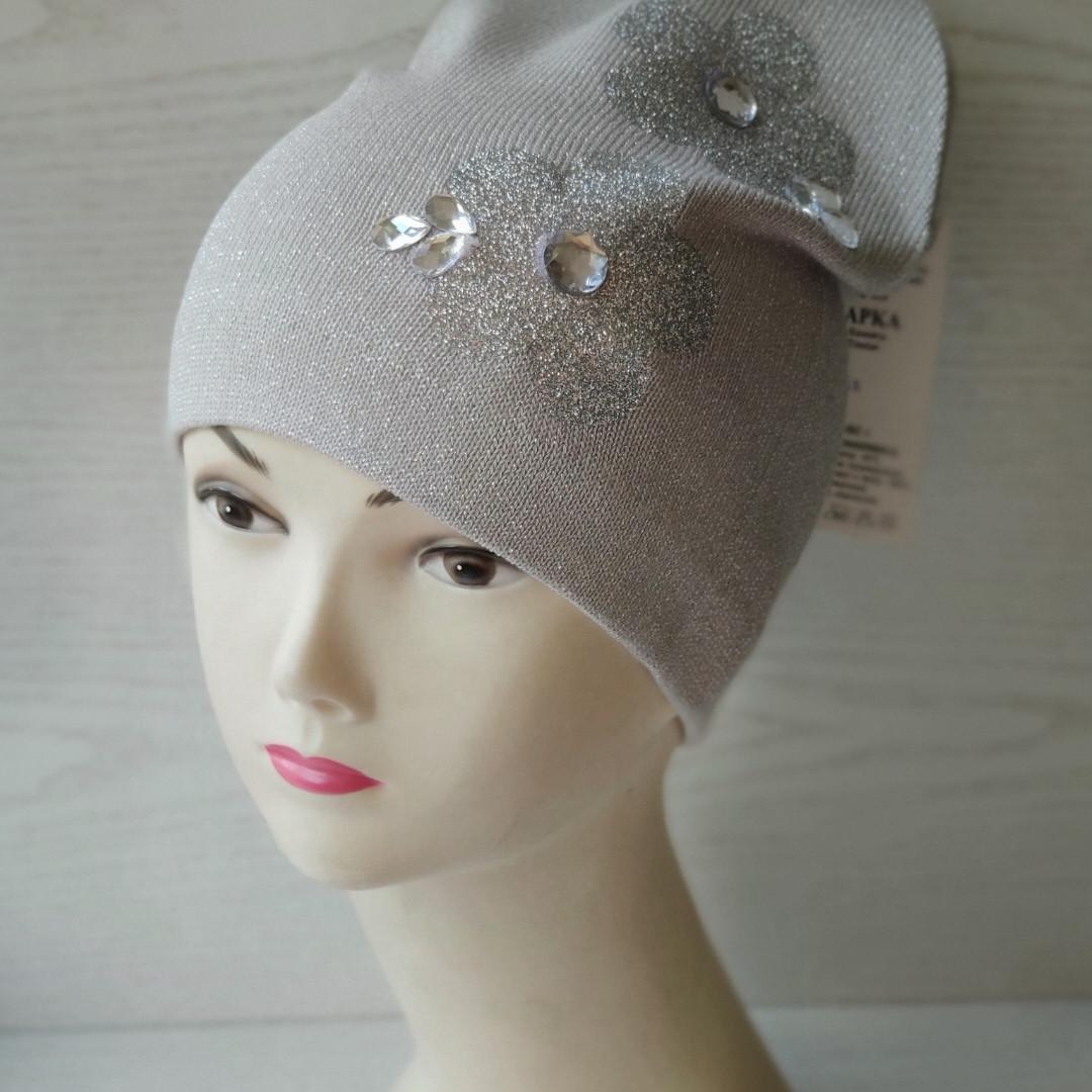 Демисезонная шапка для девочки с цветами Одинарная вязка Размер 50-54 см Воз 5-8 лет