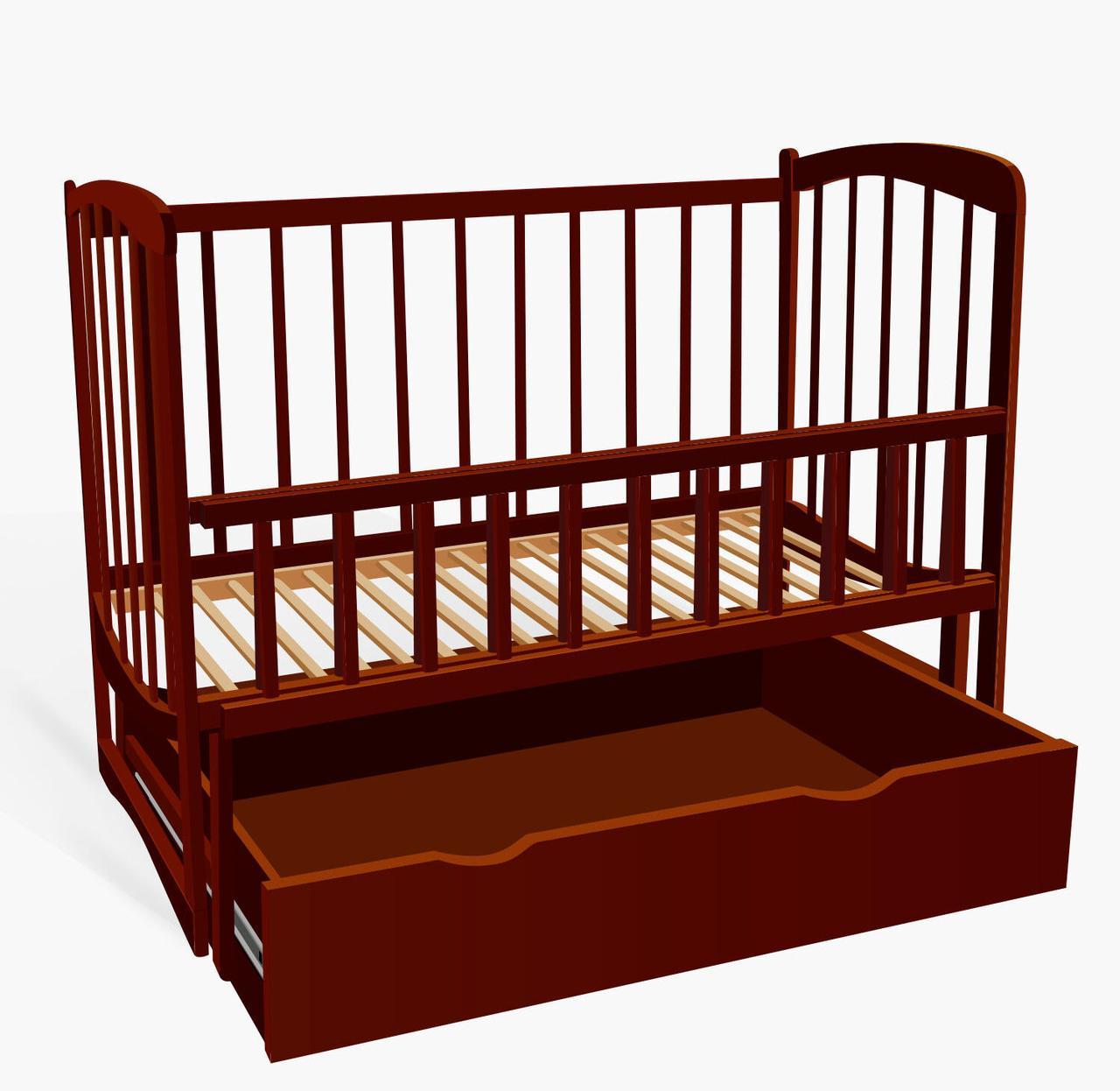 """Кроватка деревянная. маятник+шухляда - откидной борт, """" ольха - цвет тёмно-коричневый"""