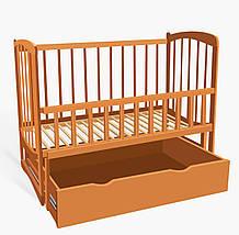 """Кроватка деревян. маятник+шухляда - откидной борт, """"Комета"""" ольха - цвет светло-коричневый"""