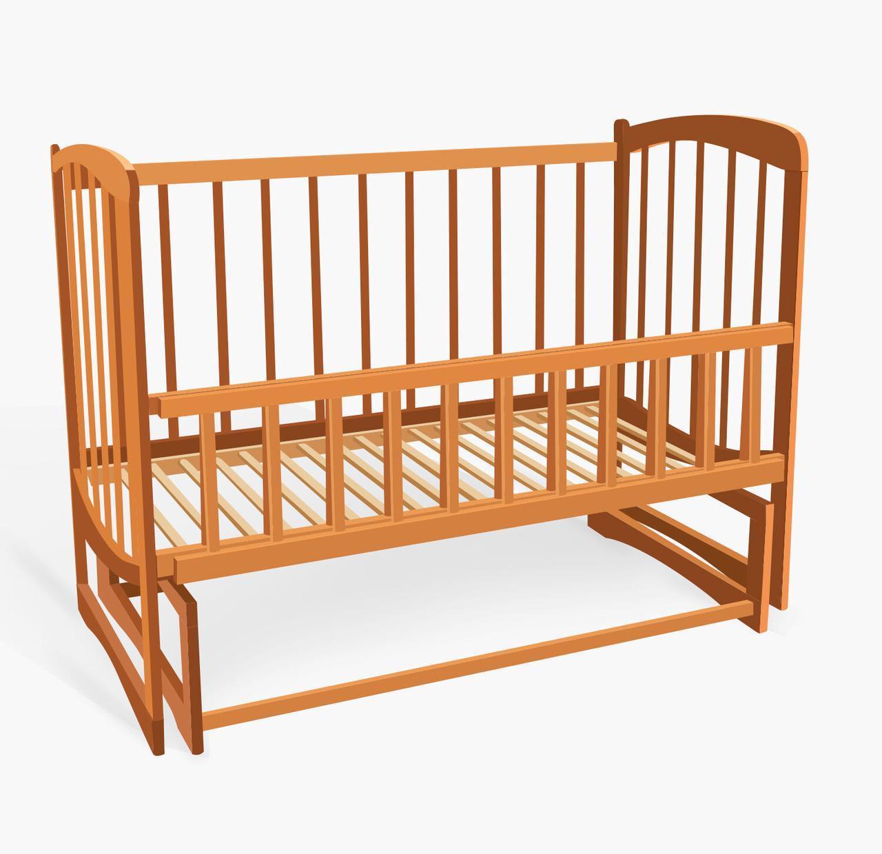 """Кроватка деревянная. маятник - откидной бортик """"Волна""""  ольха - цвет светло-коричневый"""
