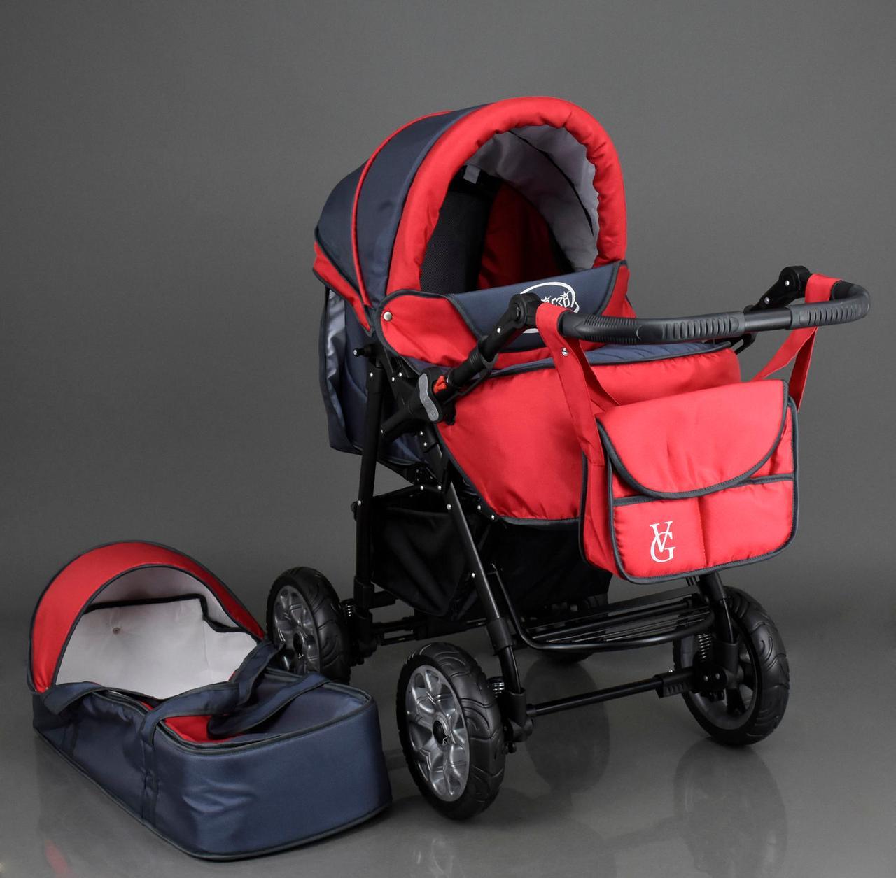 Коляска для детей Viki / 86- C 18 / Тёмно серый с красным