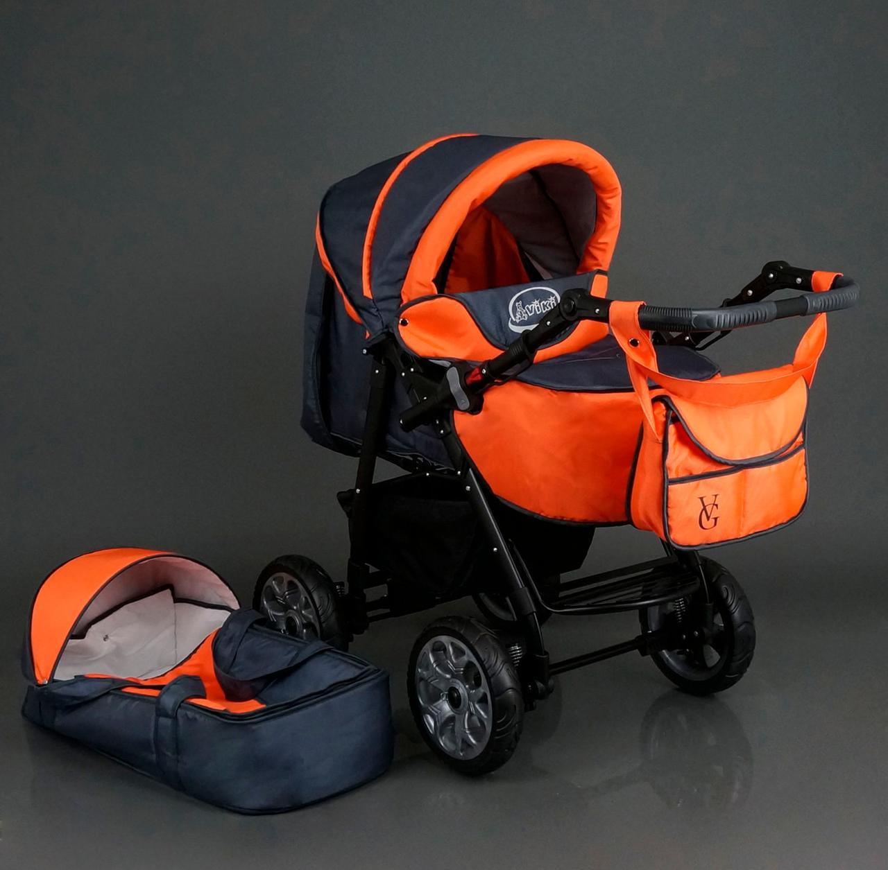 Коляска для дітей Viki / 86 - C 16 Сірий з оранжевим