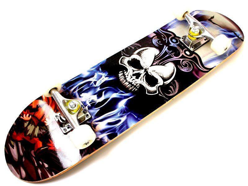 """Скейт дерев'яний """"Вогненний череп"""" навантаження до 80 кг"""