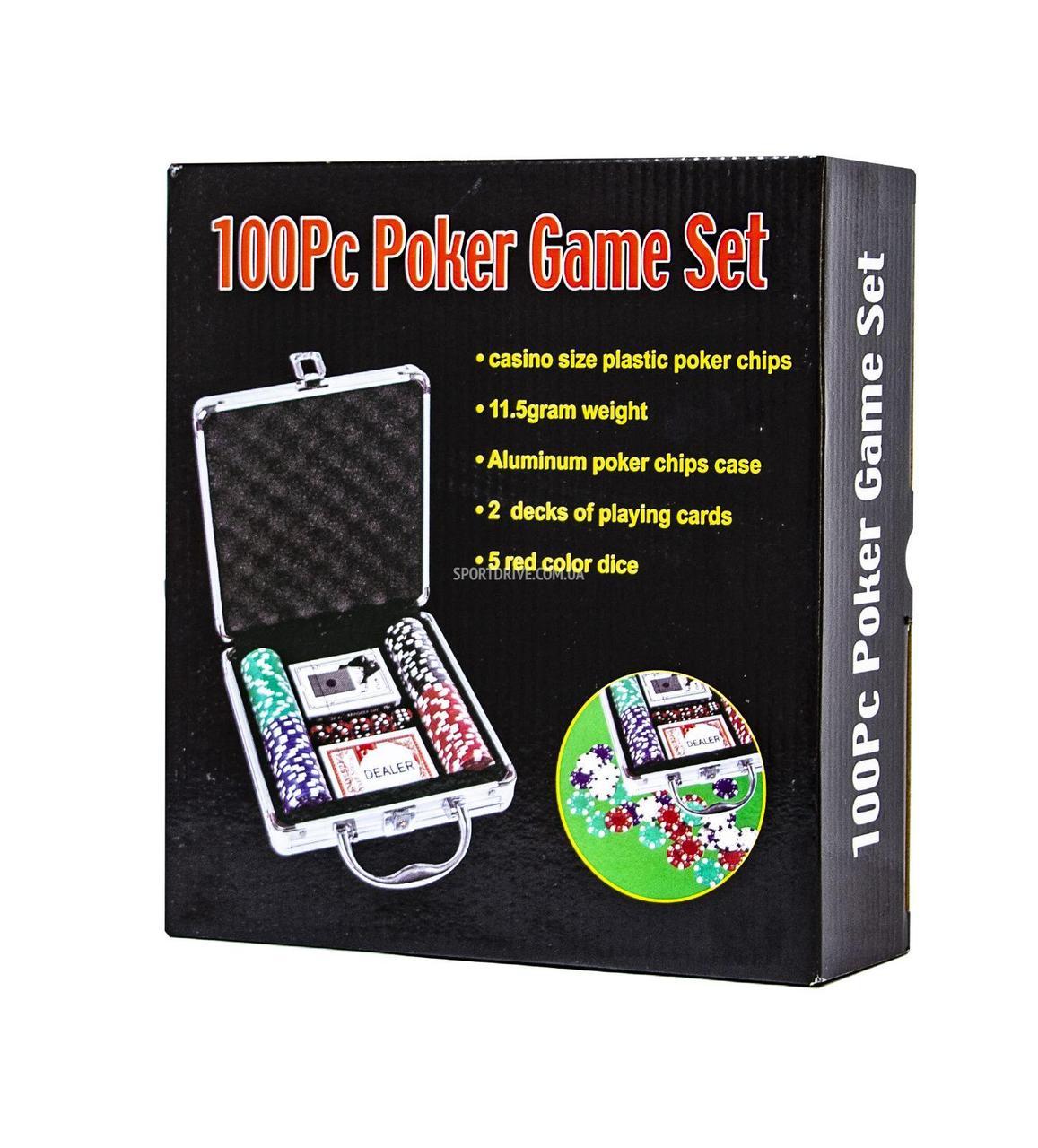 Набір для гри в покер 100 фішок +2 колоди карт