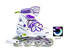 Ролики раздвижные детские Scale Sports  601B Бело-Сиреневого цвета, размеры 29-33; 34-38