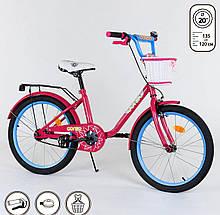 """Велосипед 20"""" дюймов 2-х колёсный """"CORSO"""" ручной тормоз, звоночек, корзинка, подножка"""