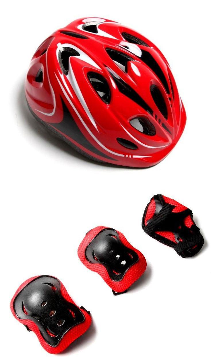 """Защитный комплект """"Роллер"""" со шлемом, красный"""