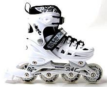 + ПОДАРОК Ролики раздвижные Scale Sports с PU колесами. WHITE. Размеры 29-33, 34-38, 38-41