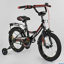 """Велосипед 16"""" дюймов 2-х колёсный """"CORSO"""" CL-16 P 4482 (1)ЧЕРНЫЙ, ручной тормоз, звоночек, доп. колеса"""
