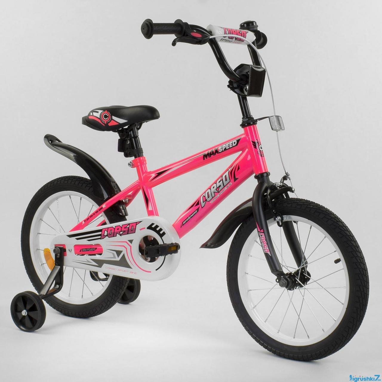 """Велосипед 16"""" дюймов 2-х колёсный """"CORSO"""" EX-16 N 9164 (1) РОЗОВЫЙ, ручной тормоз, звоночек, доп. колеса"""