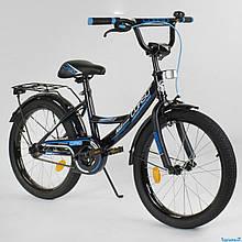 """Велосипед 20"""" дюймов 2-х колёсный """"CORSO"""" CL-20 Y 3585 (1)ЧЕРНЫЙ, ручной тормоз, звоночек, СОБРАННЫЙ НА 75%"""